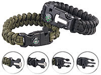 Semptec Urban Survival Technology 2er-Set Survival-Armband mit Kompass, Seil, Pfeife, Feuerstahl, Messer
